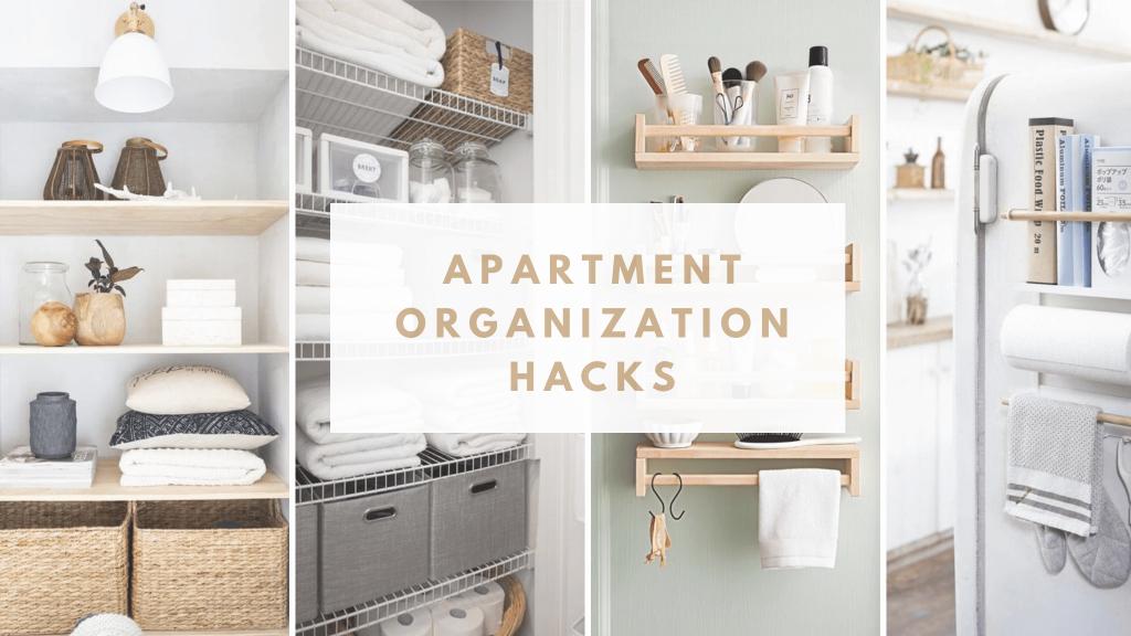 apartment organization hacks collage