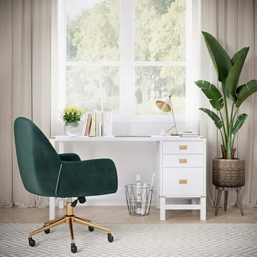 velvet green office chair