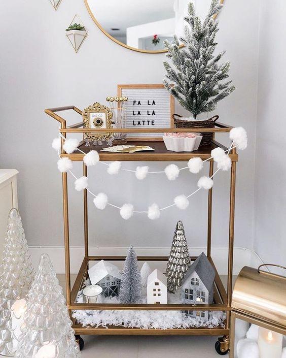 christmas bar cart styling