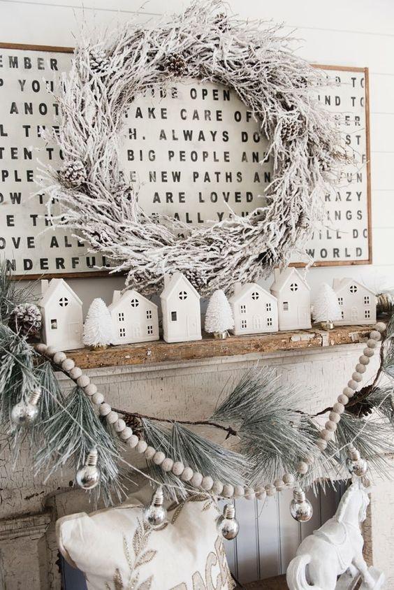 farmhouse christmas mantle