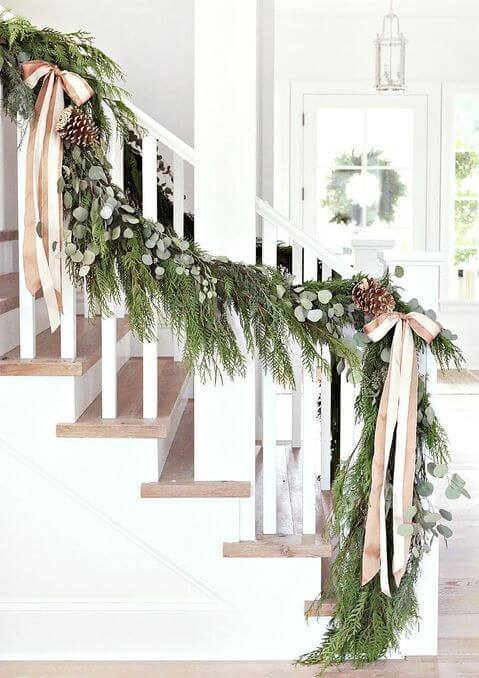 faux garlands for staircase