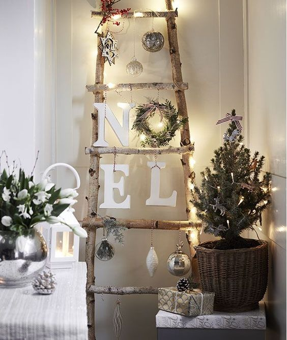 ladder with christmas decoration