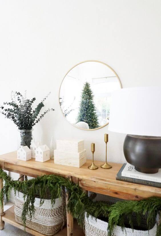 neutral entryway table christmas decor