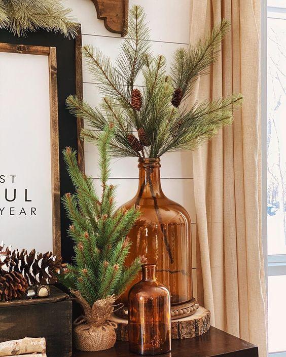 pine branches in vase