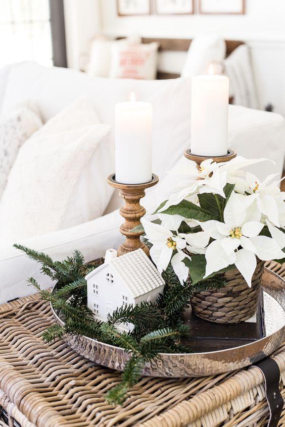 side table tray christmas decor