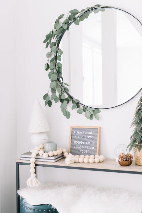 wreath around mirror