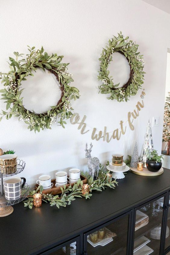 wreaths on the wall
