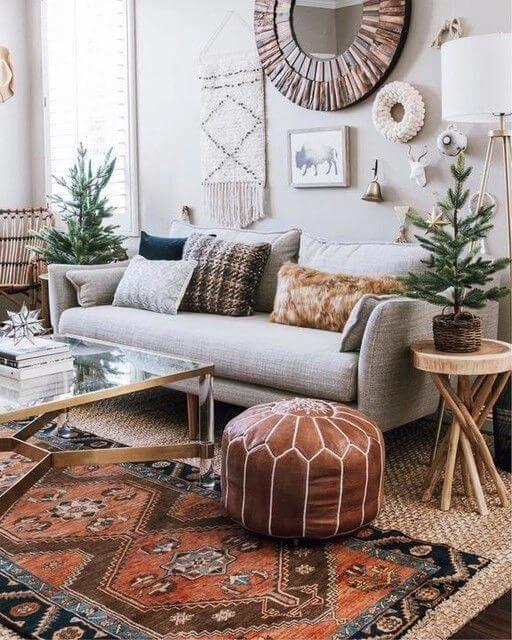 boho living room moroccan pouf