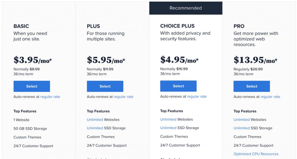 cheap bluehost plans