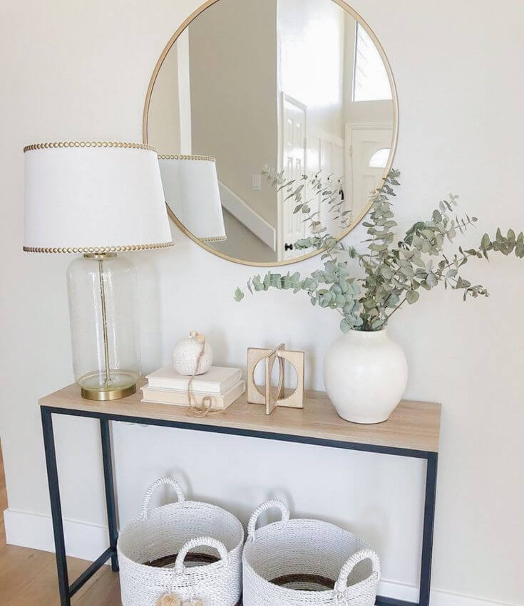how to decorate a narrow entryway table
