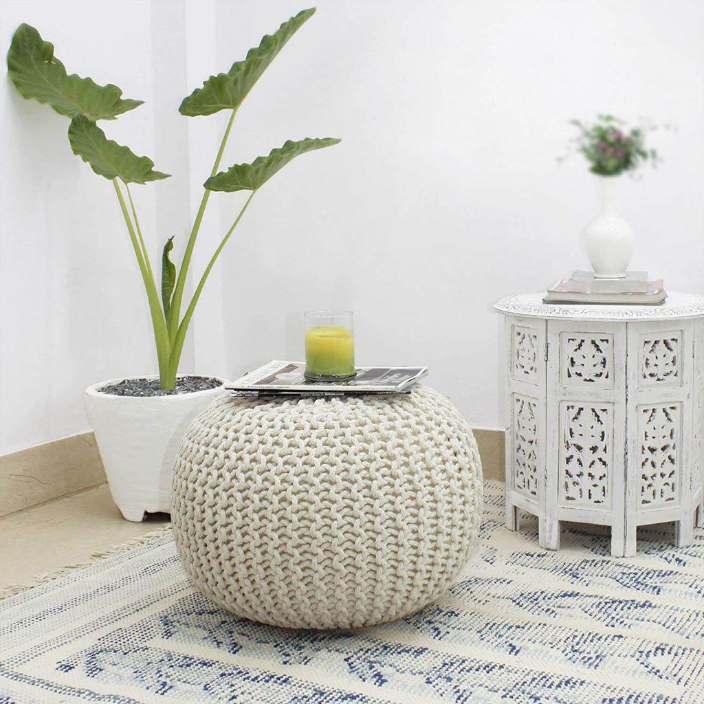 white cotton ottoman pouf