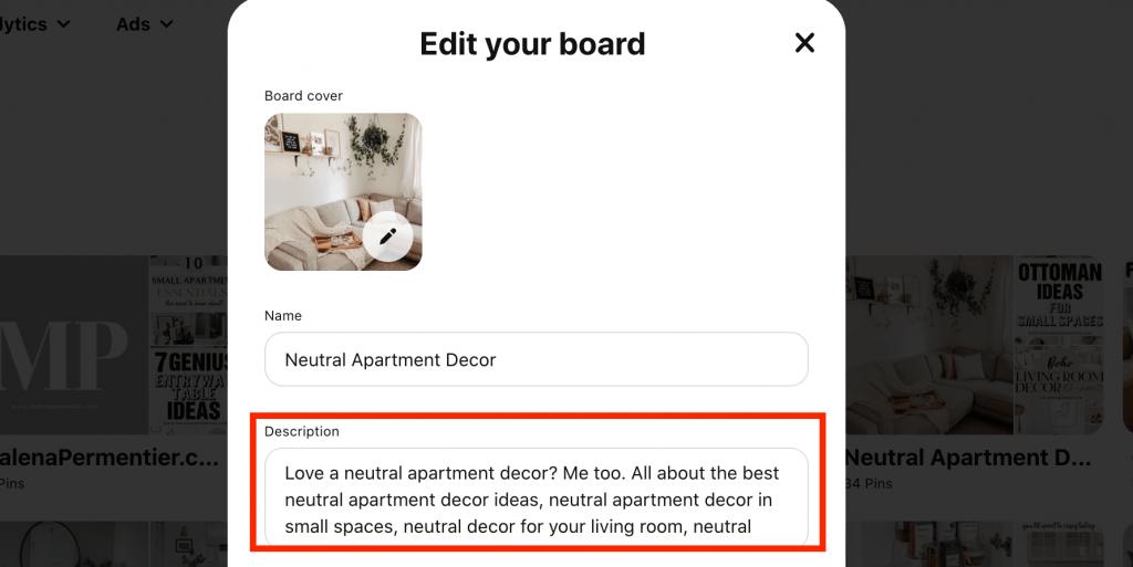 pinterest board description keywords