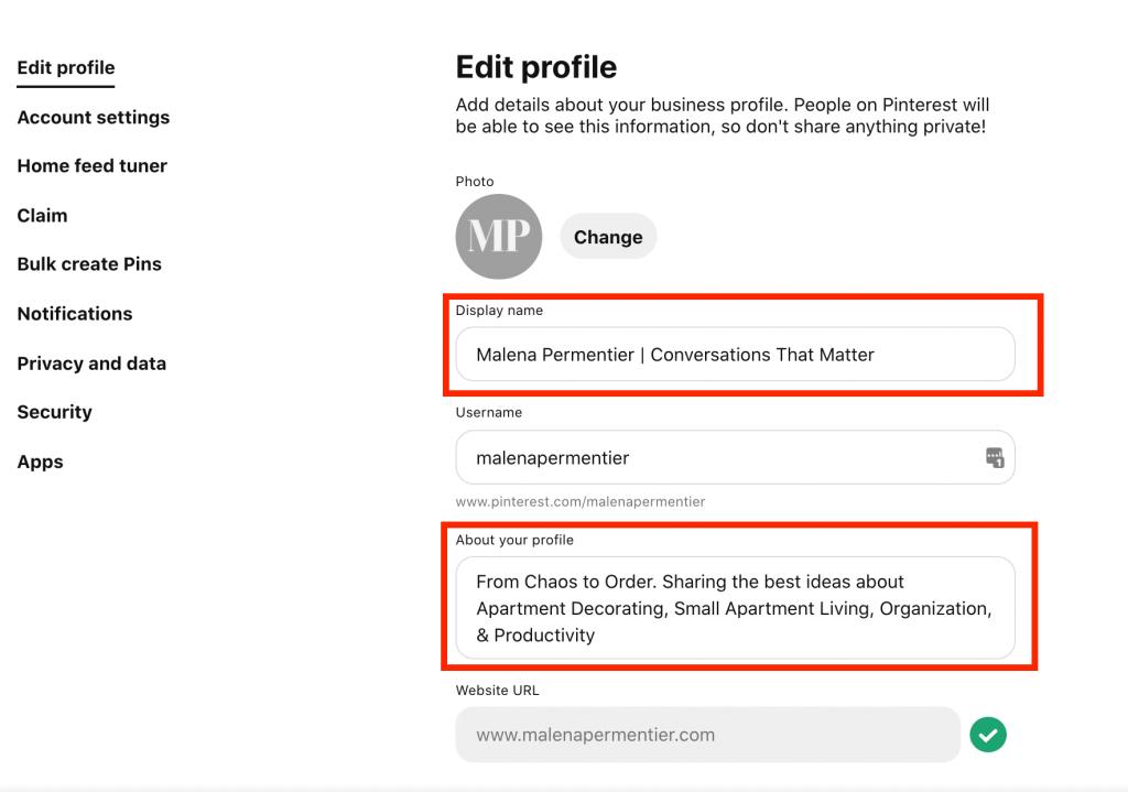 edit your pinterest profile