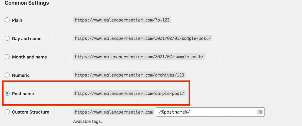permalinks settings wordpress
