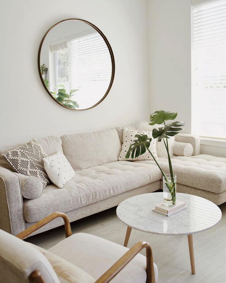 make living room look bigger with mirrors