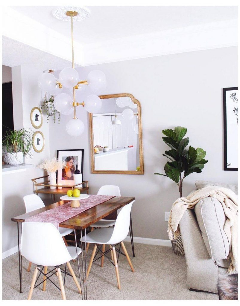 small living room with dining table