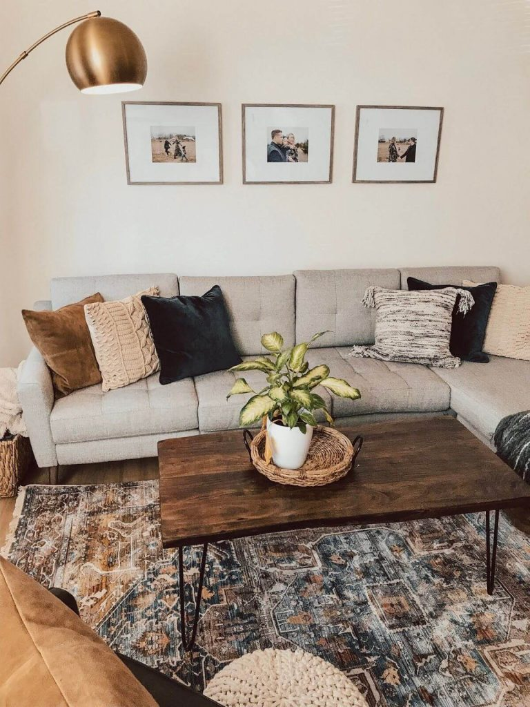 picture frames above couch