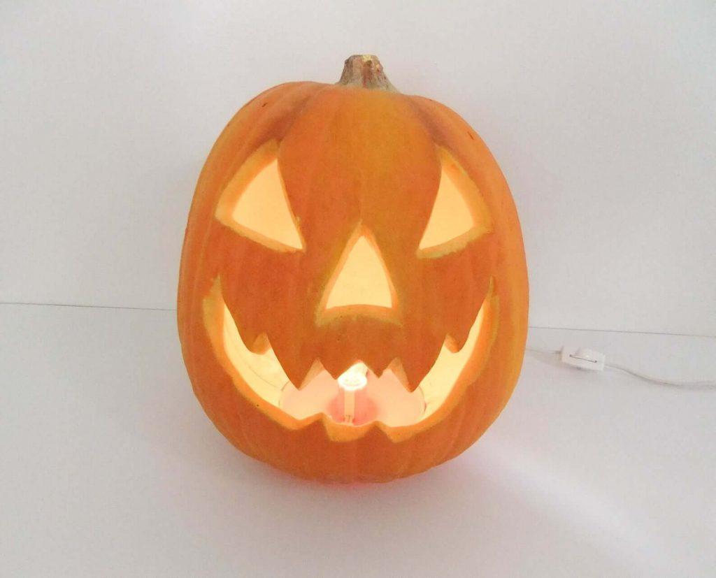 pumpkin with lights inside