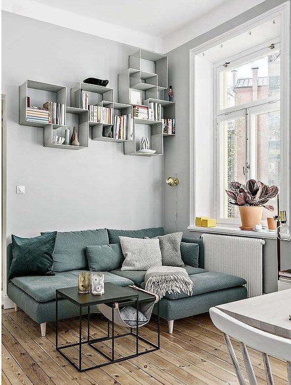 above sofa book storage