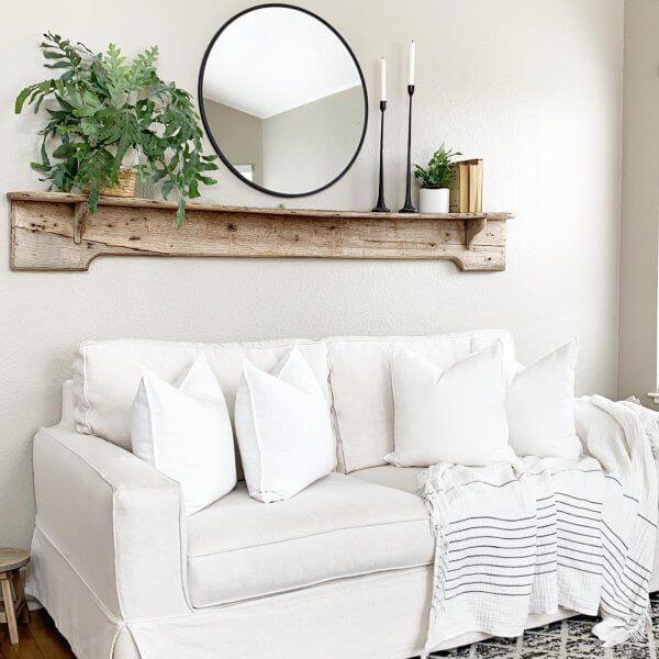 farmhouse floating shelves sofa