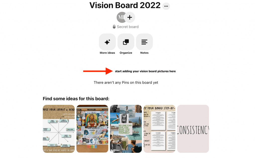 add pictures to your vision board
